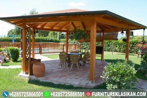 aneka gazebo glugu, bentuk gazebo rumah kayu sederhana