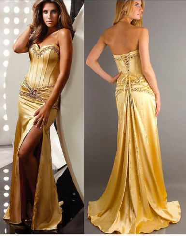 gold satin beaded corset dress  cocktail dress prom
