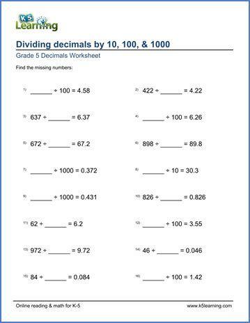 Worksheets On Dividing Decimals For Grade 5 Post Date 25 Nov