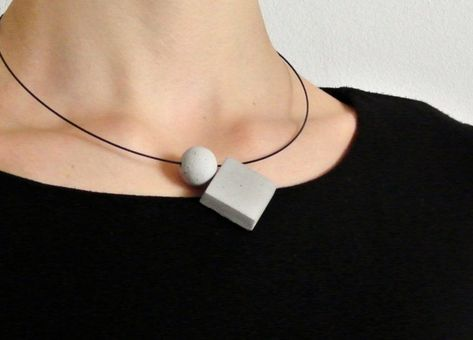 The Ultimate Gift Guide For The Modern Woman Ideas!) // Concrete geometric pendants on a matte black necklace make a simple statement and can be dressed up and down.