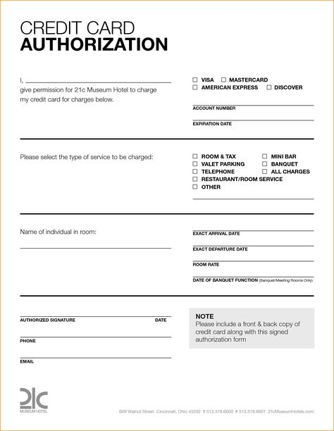 card authorization form