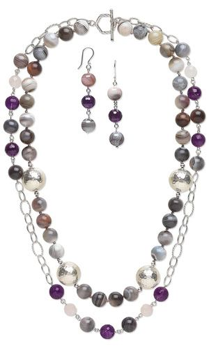 Double Stranded Amethyst and Rose Quartz Necklace and Earrings Set