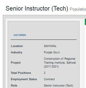 Senior Instructor Tech Jobs In Population Welfare Department Govt Of Punjab 25 Feb 2020 Tech Job Agriculture Jobs Medical Jobs