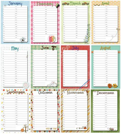 Free Printable Perpetual Calendars The birthday display all came - perpetual calendar templates