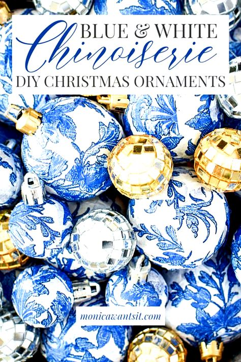 A DIY, how-to tutorial on how to make blue and white chinoiserie, Blue Willow china inspired Christmas ornaments for your holiday decorations.  #christmastree #chinoiserie #chinoiseriechic #blueandwhite #bluewillow #christmastreedecoration #christmastreedecorideas #christmastreeornaments #christmastreeideas #ornaments #christmasdecor #christmasdecorationideas #christmascrafts #christmasdecorations #christmasdecorationsDIY #holidaydecor #holidayseason #holidaydecorations #holidaycrafts