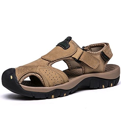 Mens Leather Sandals Athletic Outdoor Fastening Closed-Toe Workout Beach Shoes