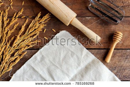 Bakery Ingredients On Wood Table With Soft Focus And Over Light In