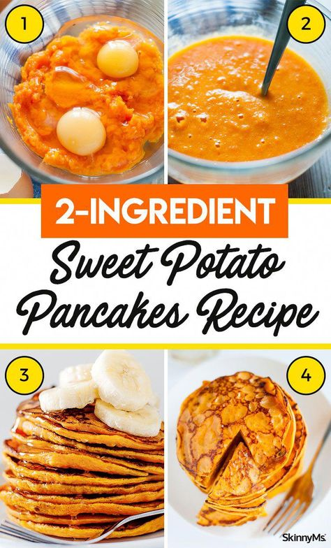 With just two ingredients, these Sweet Potato Pancakes are an easy way to enjoy a great breakfast any day of the week. And in addition to being a cinch to whip up, these pancakes are quite healthy!  #sweetpotato #pancakes #easyrecipe #glutenfree #HealthyAndEasyFoodRecipes
