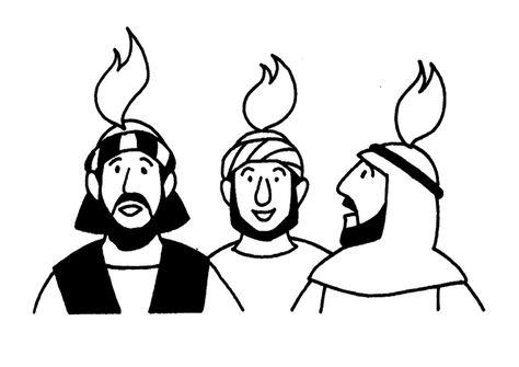 Spel bij les over Pinksteren: Prik de vlammen boven de hoofden van de apostelen. Voorbeeld om aan de kinderen te laten zien. Game for lesson on Pentecost: Pin the flames on the heads of the apostles. Example to show the children.