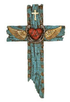 Cross with Wings Heart and Horseshoe Mosaic Crosses, Wooden Crosses, Crosses Decor, Wall Crosses, Decorative Crosses, Horseshoe Projects, Horseshoe Crafts, Horseshoe Art, Cross With Wings