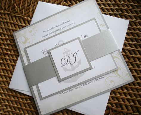Nautical Wedding Invitation Set, Anchor Wedding Invitations, Vintage  Invitation, Cruise Wedding Invitation, Yacht Invitation, Silver Invite |  Vintage ...