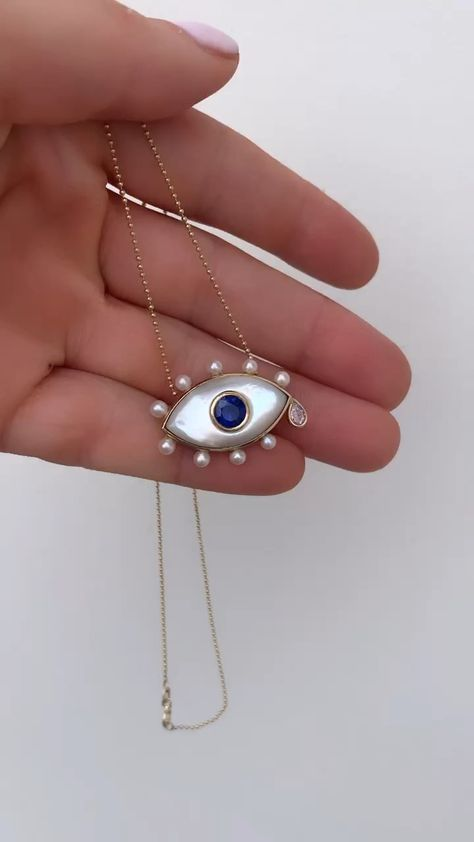 Sapphire & pearl evil eye necklace