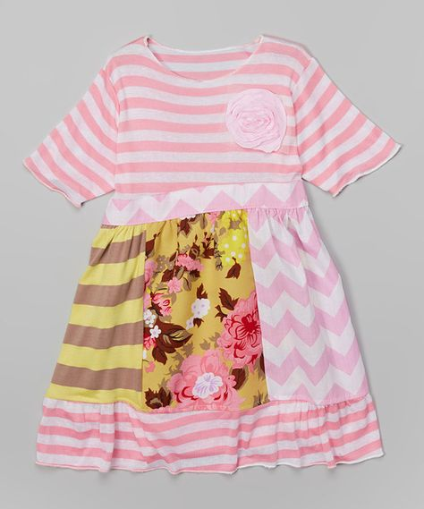 Look at this Rose Garden & Pink Rosette Babydoll Dress - Toddler & Girls on #zulily today!