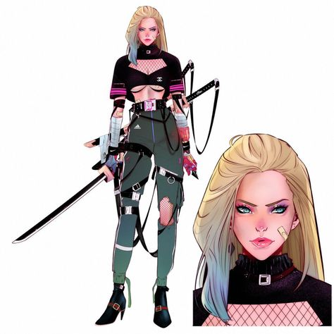 Casual Black Canary with Japanese modern samurai style. Tell me what you think about it. This is one of the most challenging commissions… Black Canary Costume, Black Canary Comic, Female Character Design, Character Design Inspiration, Character Art, Cyberpunk Character, Cyberpunk Rpg, Avatar The Last Airbender Art, Japanese Modern