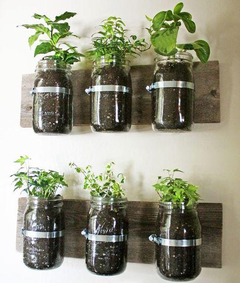 Vertical herb garden using mason jars!