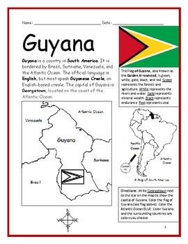 Guyana Printable Handout With Map And Flag History Lesson