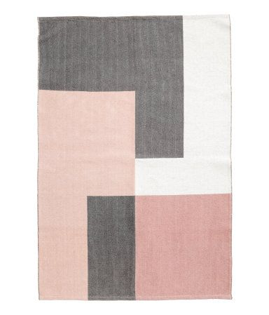 Light Pink Gray Color Block Rug In Woven Cotton Fabric