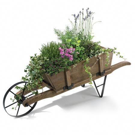 Rustic Garden French Style Barrow With Images Wooden Wheelbarrow Wheelbarrow Planter Wheelbarrow