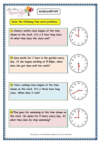 Grade 3 Maths Worksheets 8 5 Time Problems With Images 3rd
