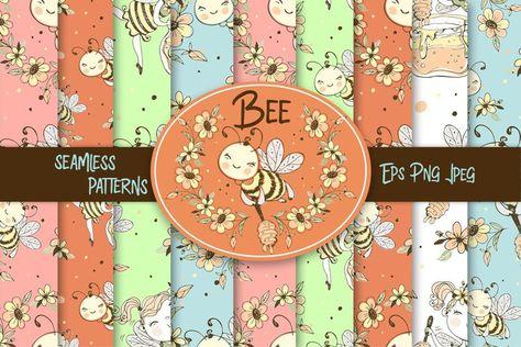 Bees digital paper. Bee fabric seamless patterns. (1346222) | Patterns | Design Bundles