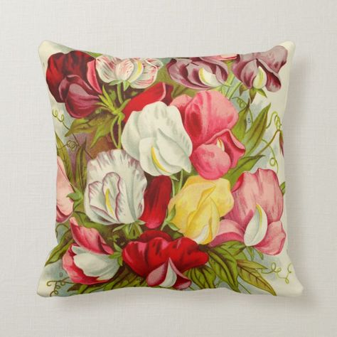 Beautiful Vintage Spring Flower Design Throw Pillow Floralprints
