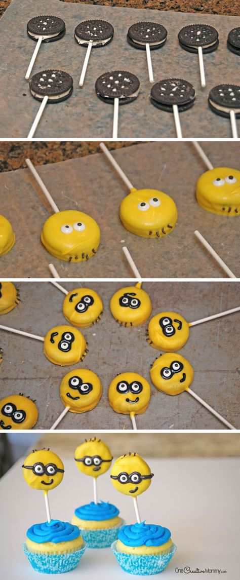 Cupcakes with Oreos - Chocolate Dipped Oreos make these Minion Cupcakes two treats in one!Chocolate Dipped Oreos make these Minion Cupcakes two treats in one! Minion Cupcakes, Bolo Minion, Minion Cake Pops, Fun Cupcakes, Oreo Pops, 4th Birthday Parties, Boy Birthday, Diy Minion Birthday Party, Minion Party Food