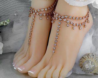 Rose Gold Boho Bride Foot Chain Jewelry Barefoot Sandal Bohemian Beach Wedding Bridal