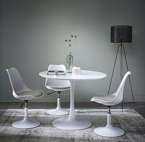 Tavoli Da Pranzo Bianchi.Tavolo Rotondo Bianco Per Sala Da Pranzo L 100 Cm Nel 2020