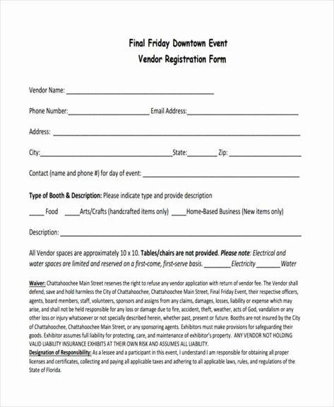 Vendor Application Form Template Unique 7 Event Registration Form Samples Free Sample Example Sign Up Sheets Executive Resume Template Application Form