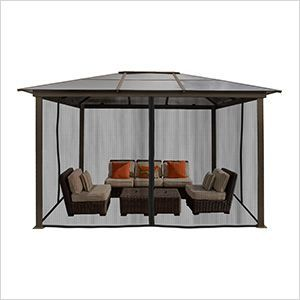 10 X 13 Ft Madrid Hard Top Gazebo With Mosquito Netting Gazebo Hot Tub Gazebo Patio Gazebo