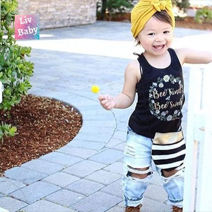 Baby Girl Clothes Toddler Girl Sleeveless Vest Tops Sunflower Denim Shorts Outfits 2Pcs Set for Summer Suits