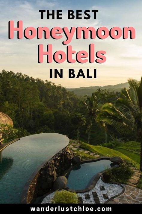 The Best Honeymoon Hotels In Bali | Infinity pools, beautiful beaches and romantic resorts. Say hello to the best honeymoon hotels in Bali. | #honeymoon #baliresort #balihotel #ubud #seminyak #nusadua #balihoneymoon #indonesia #asia #honeymoonresort #honeymooninspiration