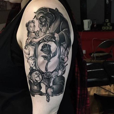 """Beauty & the Beast tattoo by at Skin Kitchen Ken"