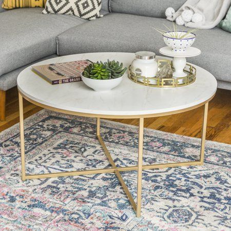 Home Round Gold Coffee Table