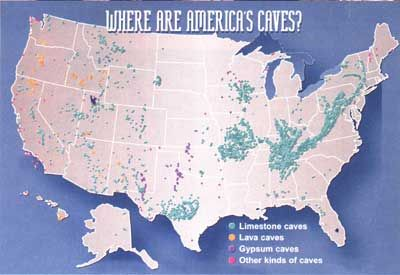 US Cave Map Background For Teachers Cave Or Cavern Geography - Map of public caves us