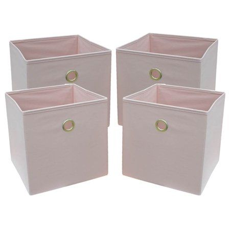 Mainstays Collapsible Fabric Cube Storage Bins 10 5 X 10 5 4 Pack Pearl Blush Walmart Com In 2020 Cube Storage Bins Fabric Storage Bins Cube Storage