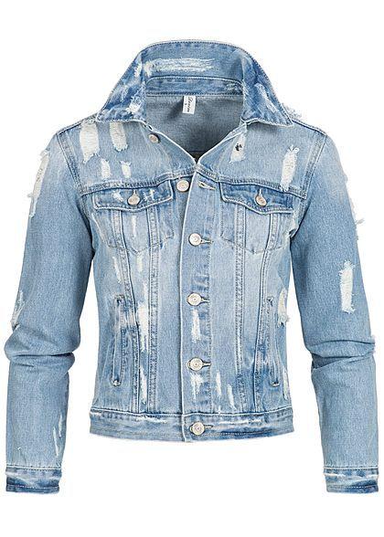 Seventyseven Lifestyle Damen Jeans Jacke Heavy Destroy Look