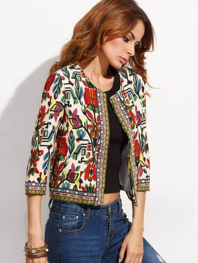 Multicolor Tribal Print Outwear With Embroidered Tape Detail EmmaCloth-Women Fast Fashion Online Mobile Site