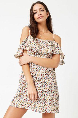 3c711f1de85 Flounce Floral Open-Shoulder Dress