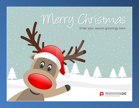 Christmas reindeer PowerPoint Templates One of the symbols of - winter powerpoint template