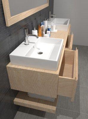 Mobile bagno con cassetti in legno massello di castagno Lara ...
