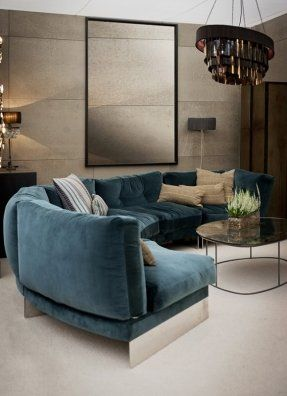 Living Room With Petrol Blue Sofa Variant Living Round Living Room Sectional Living Room Layout Curved Sofa