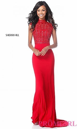99868ffb5fa Long Mock-Neck Prom Dress with a Beaded Bodice