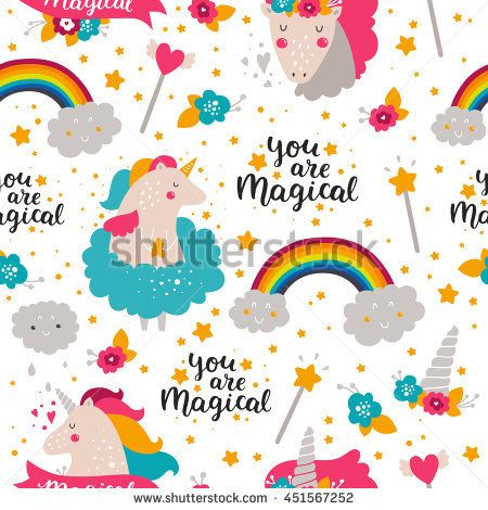 Vector background with baby unicorn. Kids pattern for design birthday cards and party invitations. Baby illustration with cute unicorn, rainbow and hand drawn lettering