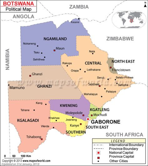 SouthAfrica Map showing the provinces with capital cities