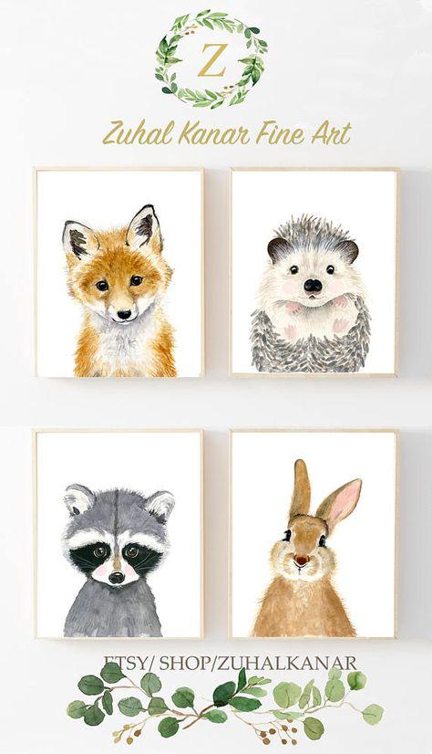 Bébé animaux: baie de raton laveur, renard, lapin, hérisson Ce bébé animal estampes caractéristiques de la collection un ensemble de 4 gravures de ma collection d'art de l'aquarelle. Matériaux: Imprimé sur du beau de haute qualité, d'archives et de l'acide libre papier fine art de