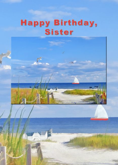 Birthday Sister Ocean Beach And Sailboat Card With Images
