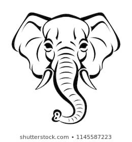 Vector Beautiful Elephant Face Tattoo Sketch Or Template For Print On T Shirts Elephant Face Elephant Face Drawing Elephant Tattoo Design