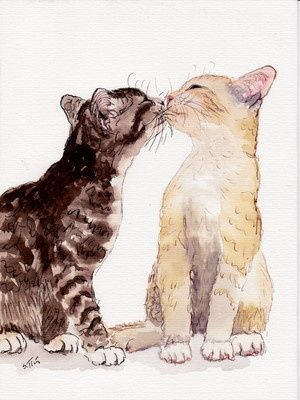 """cat kisses""                                                                                                                                                                                 More #ad #CatWatercolor"