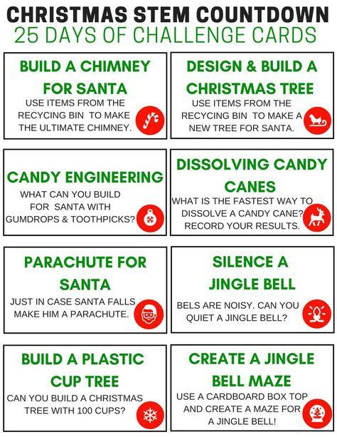 Christmas Stem Challenges.Christmas Stem Challenge Cards Countdown Calendar Free